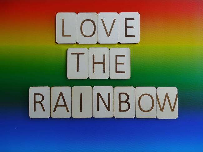 Love the rainbow Love The Rainbow Flat Lay Wooden Letters Wooden Letters Lgbt Pride Lgbt Rainbow Rainbow Colors Pride Words To Live By  Words Sentence Text Communication Purple Internet Multi Colored No People Indoors  Close-up Day