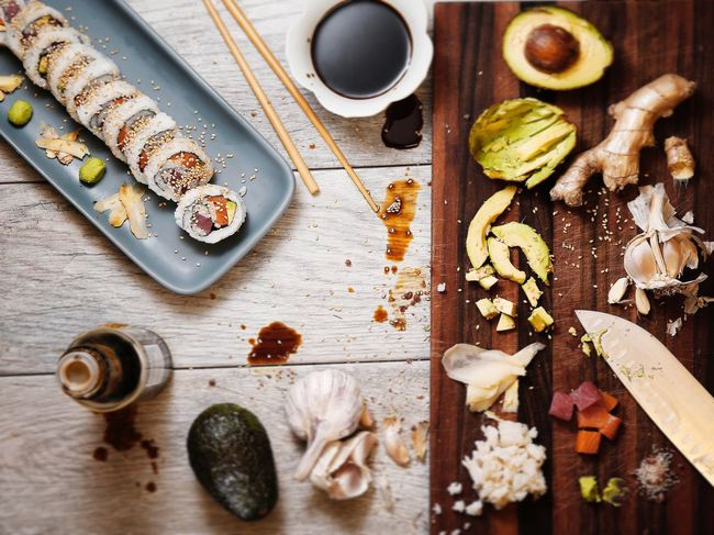 Sushi Sushi Time Still Life Food Gourmet Freshness Healthy Eating Directly Above Ingredients