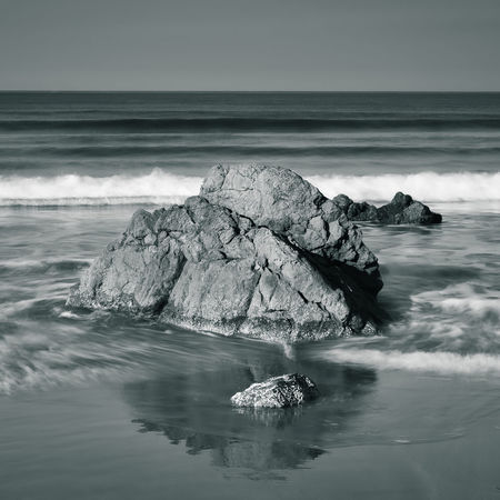 Long exposure water around rocks and sand, Dillon Beach, California. Water Sea Motion Rock Rock - Object Scenics - Nature Solid Wave Horizon No People Tranquil Scene Stack Rock Outdoors Day Beauty In Nature Long Exposure Blackandwhite Reflections Cool Tone Horizon Over Water Beach