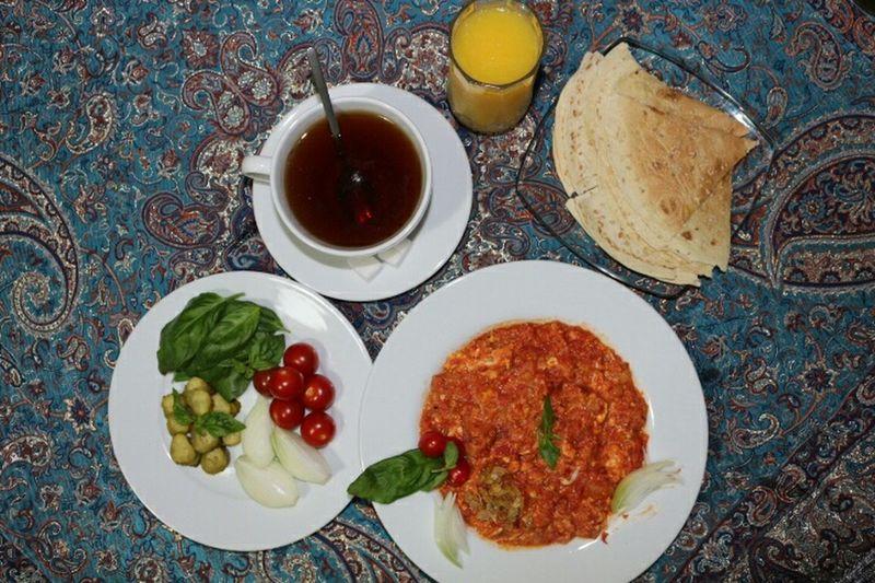 Time For Breakfast  Tea Sugar Cube Orange Juice  Onions Tomatoes Pickles Tomato Omelette Basilic Iranian Breakfast