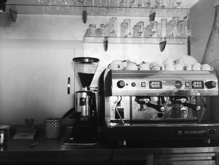Black & White Blackandwhite Cafe Coffe Maker Coffee Cup Coffee Lover Coffee Machine Coffee Time Cups Esspreso Machine Esspresso Glasses Man Made Object Pub