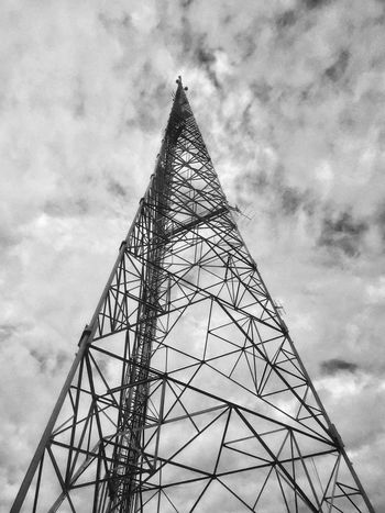 Sky No People Low Angle View Cloud - Sky Day Connection Outdoors Street Photography JoMo Photo IPhoneography Monochrome Black & White Black And White TV Tower Metal Metal Structure TV Antenna Antenna