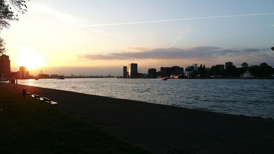 Sea Beach Sunset Horizon Over Water Reflection Sky Architecture Water Outdoors Travel Destinations Vacations City Landscape Cloud - Sky Building Exterior Urban Skyline Night Rotterdam No People Built Structure Harbour View Cityscape Cityscape Rotterdam Rotterdam, Netherlands Maas
