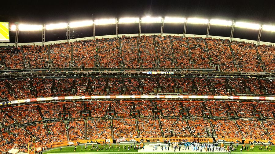 American Football - Sport Match - Sport People Cheering Night Audience Fan - Enthusiast Event Large Group Of People Stadium Spectator Crowd Sport Illuminated Sports Team Broncos County BroncosCountry BroncosNation Broncoslove