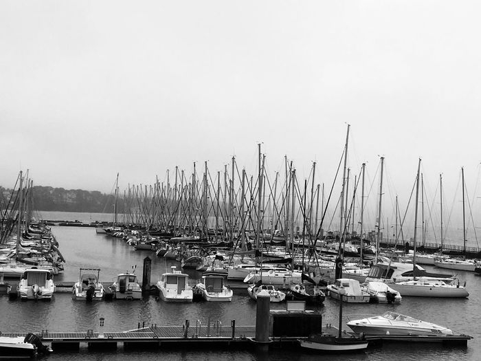 France Brest Blackandwhite Water Nautical Vessel Transportation Mode Of Transportation Sea Sky No People Water Nautical Vessel Transportation Mode Of Transportation Sea Sky No People Moored Pole Mast Clear Sky Copy Space Nature Waterfront Sailboat Harbor Marina Day Travel Architecture