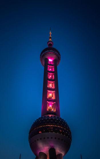 Architecture Blue Building Building Exterior Built Structure City Clear Sky Illuminated Low Angle View Nature Night No People Office Building Exterior Oriental Pearl Tower Outdoors Purple Sky Skyscraper Spire  Tall - High The Oriental Pearl Tower Tourism Tower Travel Travel Destinations