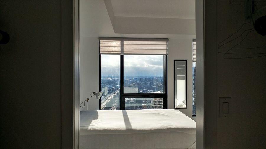 Sky seen through home window