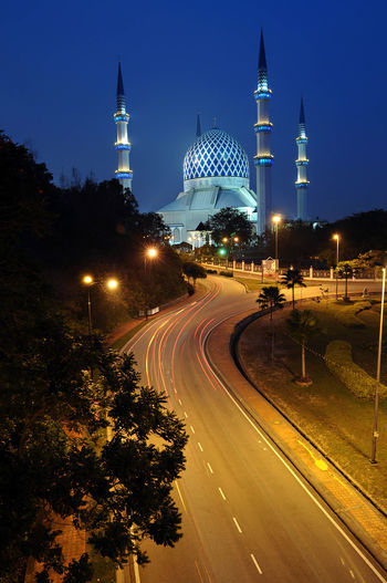 High angle view of road leading towards sultan salahuddin abdul aziz mosque at night