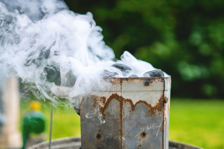 Close-up of smoke emitting from pipe