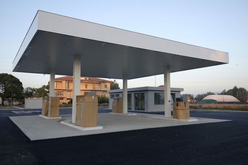 refueling station under construction Gasoline Power Pump Service Station Architecture Building Exterior Built Structure Clear Sky Day No People Outdoors Refueling Sky