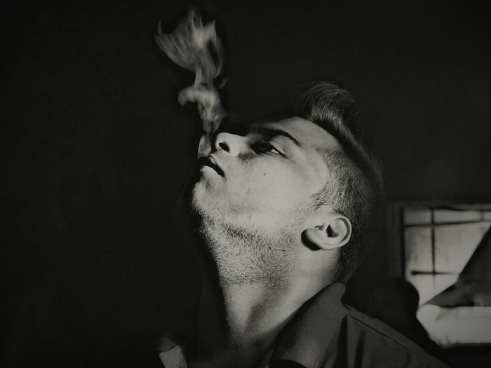 Human Face Black Background One Person Portrait Headshot Human Eye Smoke - Physical Structure Smoking Smoking Time Egal