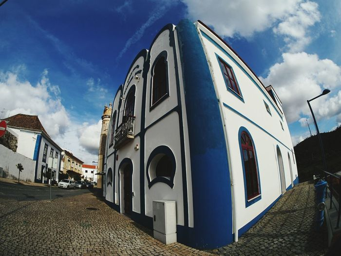 EyeEm Selects Cloud - Sky Sky Built Structure Architecture Building Exterior Outdoors Arts Culture And Entertainment Day No People Perspective Perspectives Perspective Photography Wide Shot Wide Angle Wide Angle View Fisheye Fisheye Lens Olympus Olympus Om-d E-m10 Samyang Mértola Alentejo