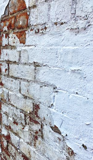 Wall - Building Feature Backgrounds Weathered Rough Old Brick Wall Close-up Wall Brick Run-down Damaged White Color Washington, D. C. Pattern