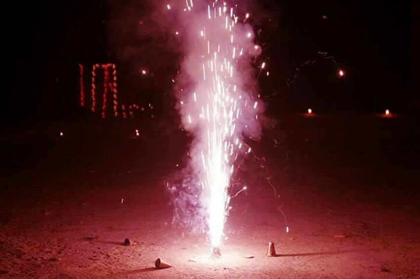 Exploding Firework - Man Made Object Celebration Smoke - Physical Structure Night Firework Display