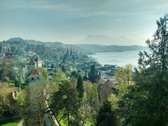 Panoramic view of lucerne against sky