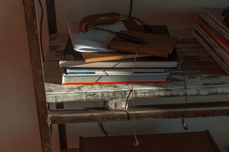 audiophile Books Bookshelf Earphones Headphones Home Book Cosy Interior Earplugs Home Interior Shelf