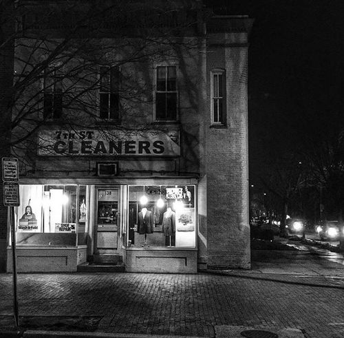 7th Street Cleaners Illuminated Night Building Exterior Built Structure Architecture Outdoors Street Light City Tree No People Neon Streetphotography Blackandwhite Blackandwhite Photography