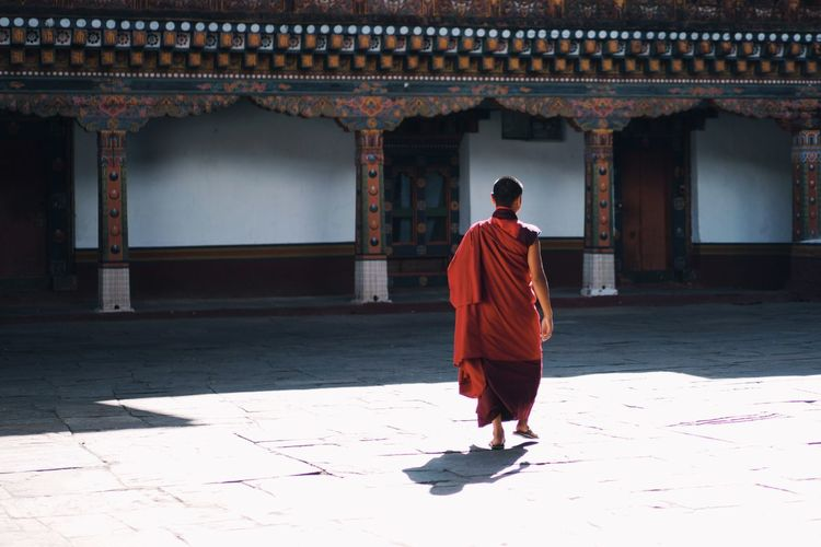 Rear view of a monk