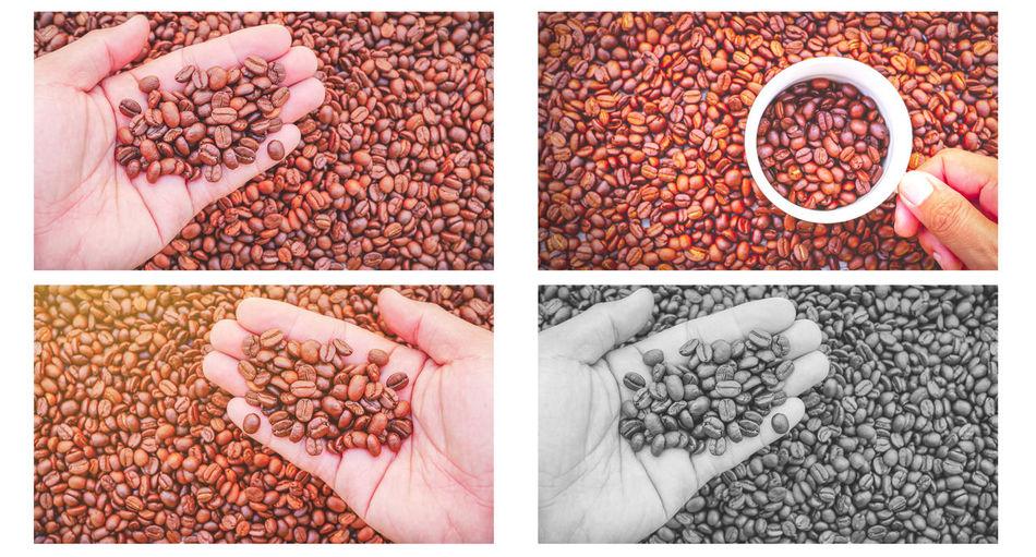 Digital composite image of hand holding food