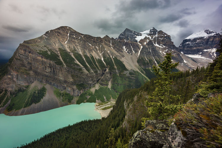 Scenic view of mountains and lake against cloudy sky at banff national park