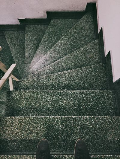 Stairs Low Section Human Leg Human Body Part Shoe Body Part Real People One Person Standing Personal Perspective Lifestyles Unrecognizable Person Architecture High Angle View Directly Above Day Human Foot Human Limb Indoors  Leisure Activity Nature