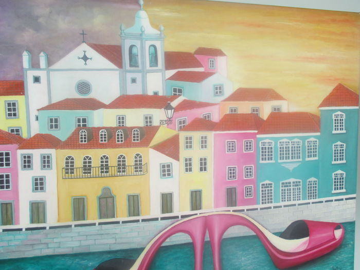 #Beautiful Portugal #IlovePortugal #painting Of A Portuguese Town #Portrugal #Portuguese Art #Portuguese Landscape #Portuguese Motifs #Portuguese Town #Watercolors Architecture Building Exterior Built Structure City Close-up Day Indoors  No People Painting Of A Portuguese Town Portuguese Architecture Portuguese Town With River Red Sky Travel Destinations Warm Colors Water