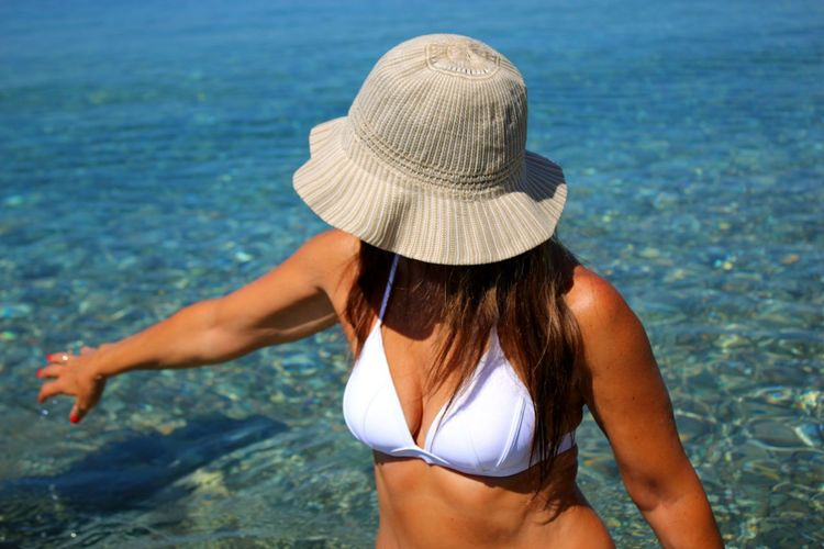 Hat Beach Sea Summer Bikini Sun Hat Beauty Lifestyles Human Body Part Beautiful People Vacations Women Portrait Relaxation Breathing Space Freshness Watersurface Backgrounds Tranquility Sicily Vacations Seascape Photography Travel Destinations Water Inspired The Week On EyeEm Done That. Second Acts My Best Photo