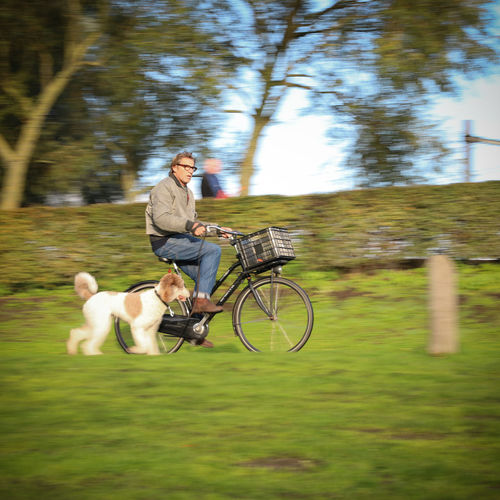 Man riding a dog