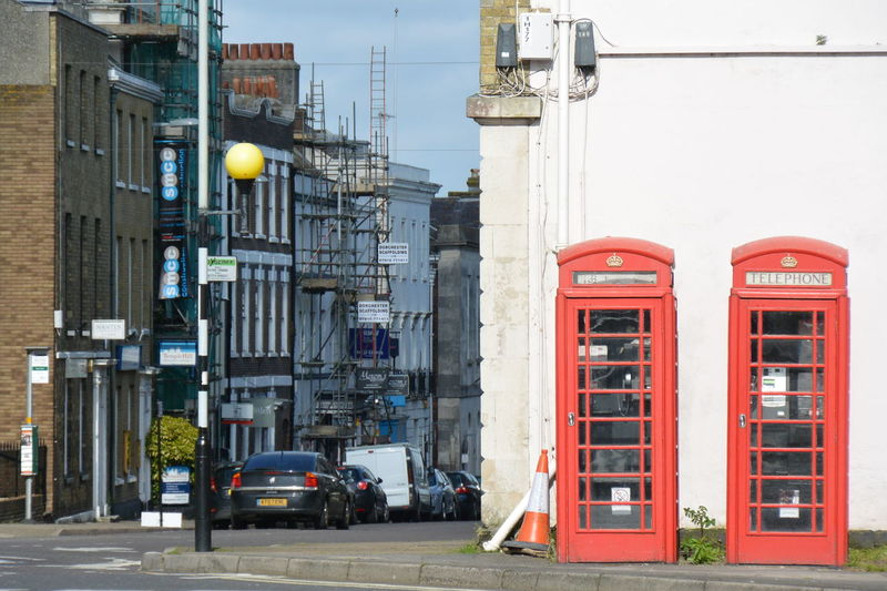 two of them Telephone Box Red Two Street Dorchester England