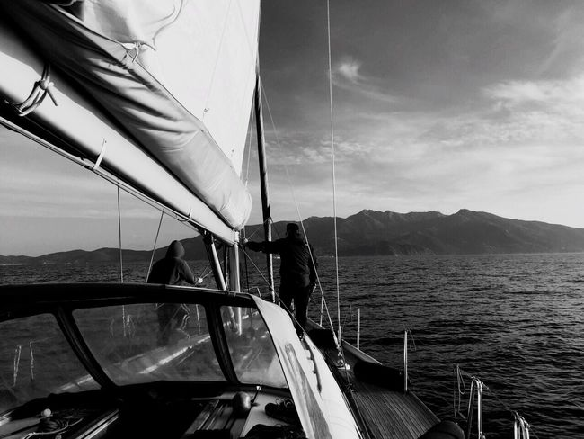 B&W Portrait In Barca Barca A Vela Blackandwhite Love The Sea
