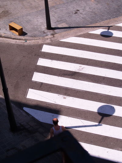 Crossing Marking High Angle View Shadow Crosswalk Outdoors Road Street Wood - Material City Zebra Crossing Road Marking Sign Sunny