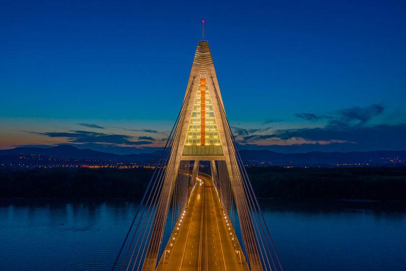 Aerial view of the beautiful illuminated megyeri bridge over river danube at sunset