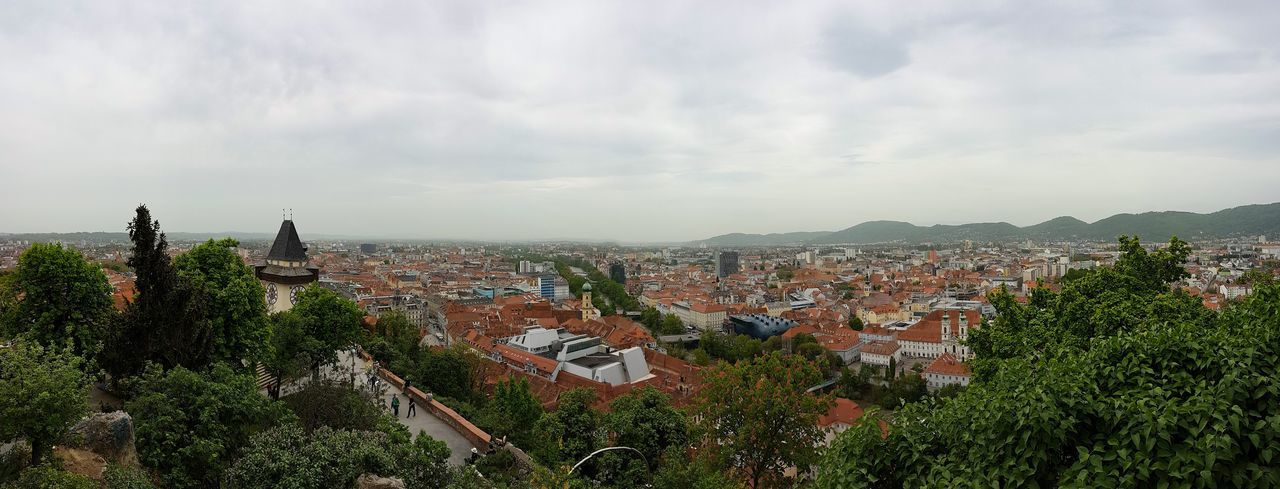 Panorama Graz Panorama Panorama Graz Graz Austria Grazer Uhrturm Clock Tower Cityscape City Tree Sky Architecture TOWNSCAPE Town Roof Old Town Rooftop Overcast