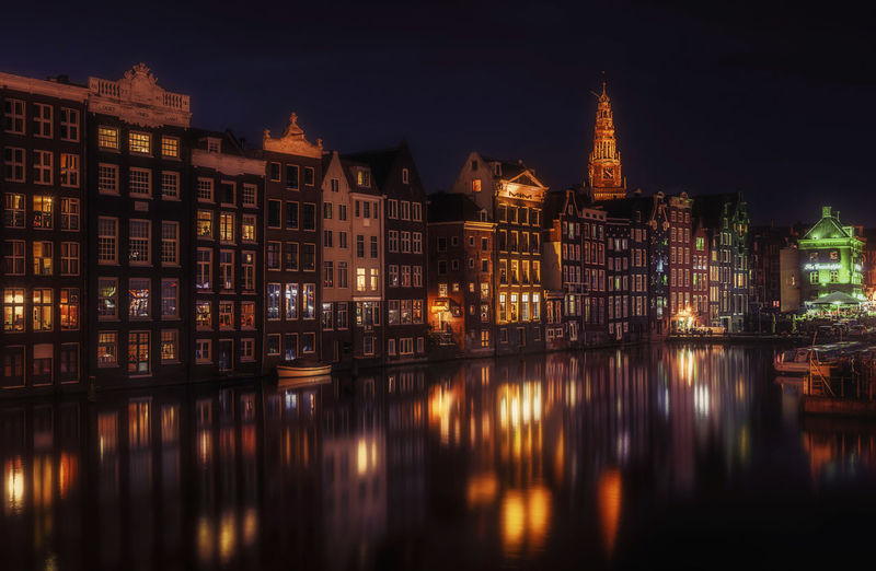 Amsterdam Netherlands Architecture Building Exterior Built Structure City Holland Illuminated Night No People Outdoors Reflection Sky Water Waterfront