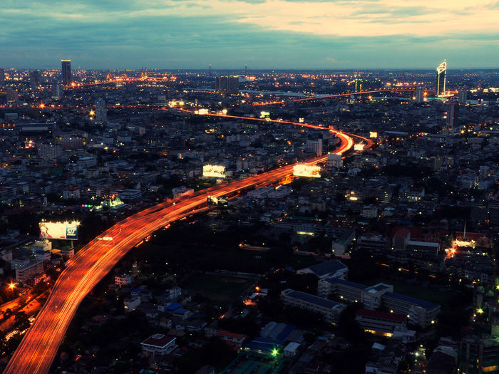 Aerial View ASIA Bangkok Bangkok Thailand. Capital City City City City Life Cityscape Cityscapes Dark Evening Light Trails Long Exposure Night Road Skybar Street Street Light Thailand Tourism Transportation Travel Traveling View Mobility In Mega Cities