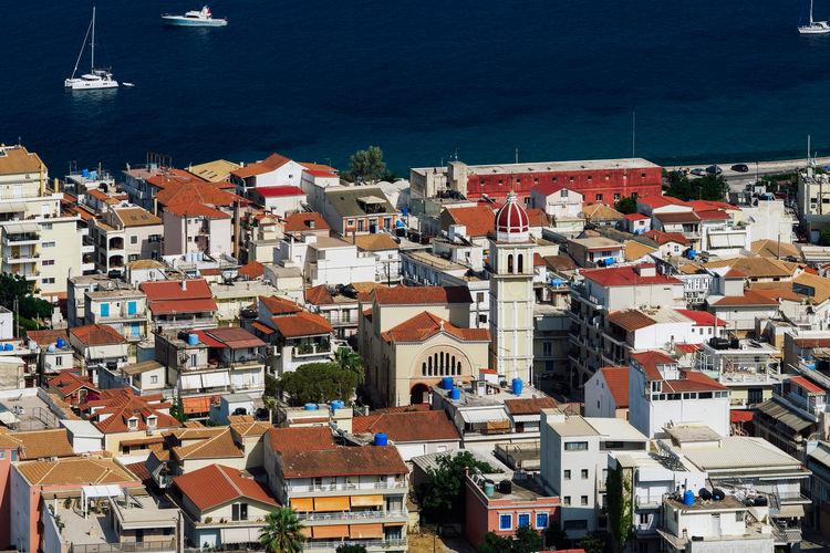 Zakynthos, greece island capital panorama with buildings.sunny view of orthodox church around houses