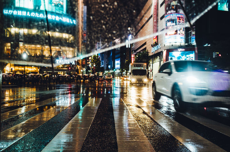Wet Road In City At Night