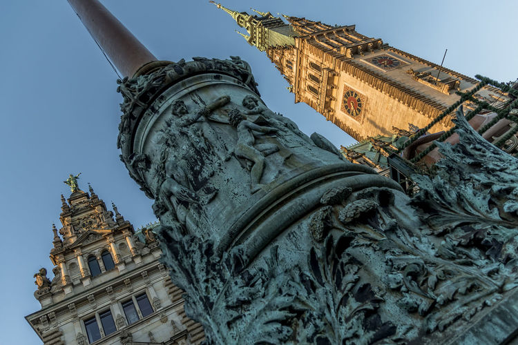 TownhallHamburg Antique Architecture Building Exterior Built Structure City Clear Sky Day Fountain History No People Old Buildings Outdoors Sculpture Sky Statue Townhall Hamburg Travel Destinations