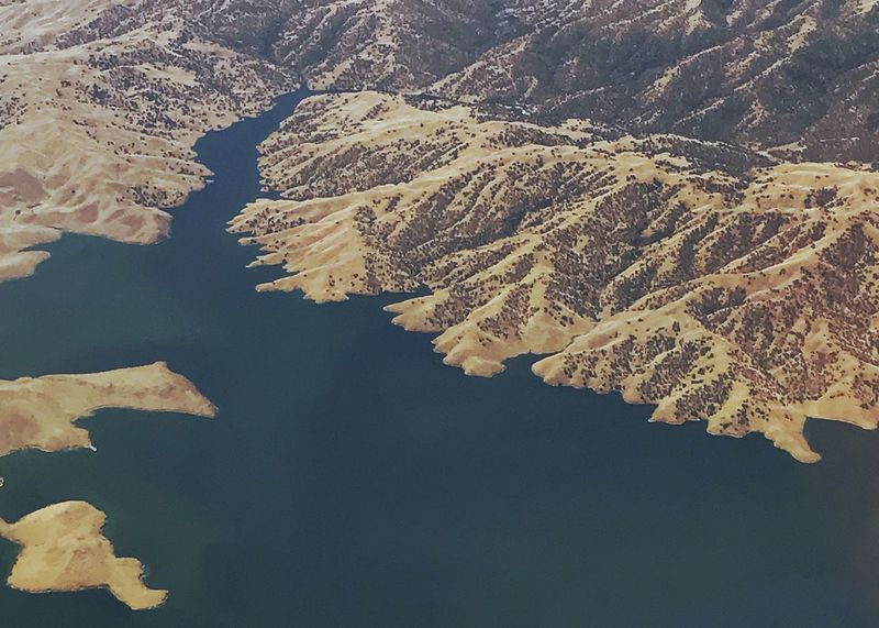 Aqua-marine reservoir. Reservoir Landscape Aerial View Water Lake Man Made Lake Scenics No People Backgrounds Desert Mountain Outdoors Perspectives On Nature