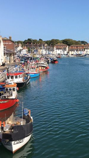 Nautical Vessel Transportation Clear Sky Moored Mode Of Transport Water Boat Architecture Building Exterior Harbor Built Structure Sea Waterfront Outdoors Day No People Town Blue Travel Destinations Nature Weymouth Dorset Weymouth Harbour