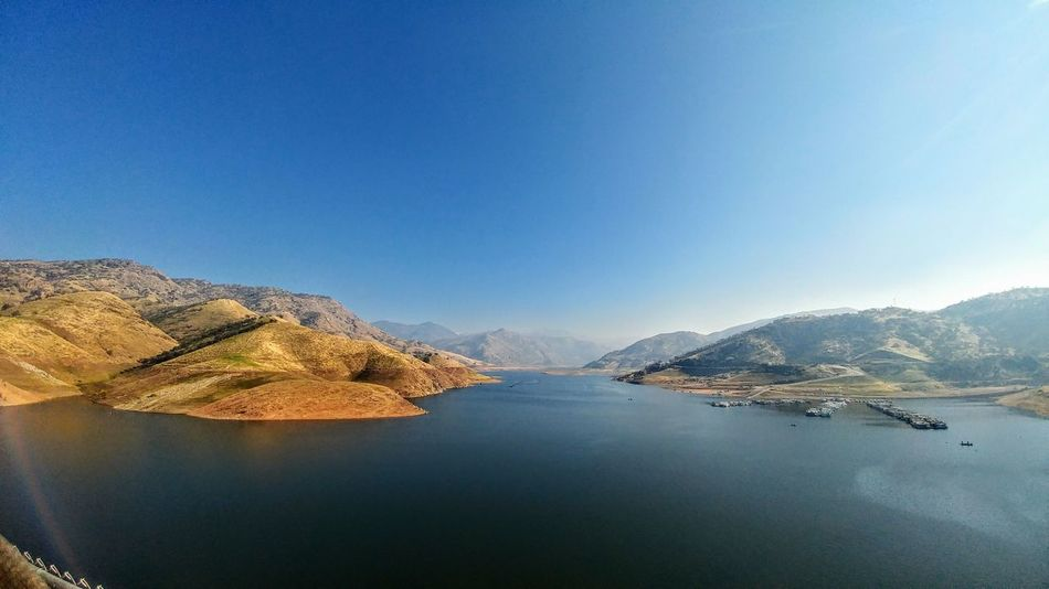 Rolling Hills Smog Blue Water Nature Clear Sky Scenics Beauty In Nature Outdoors Mother Nature Gods Creation Lake Kaweah Lake Kaweah Dam Terminus Dam U.S. Army Corps Of Enginneers Built 1861 U.S. Army Corps Of Engineers Engineering Wide Angle View Saturday Working On The Weekend