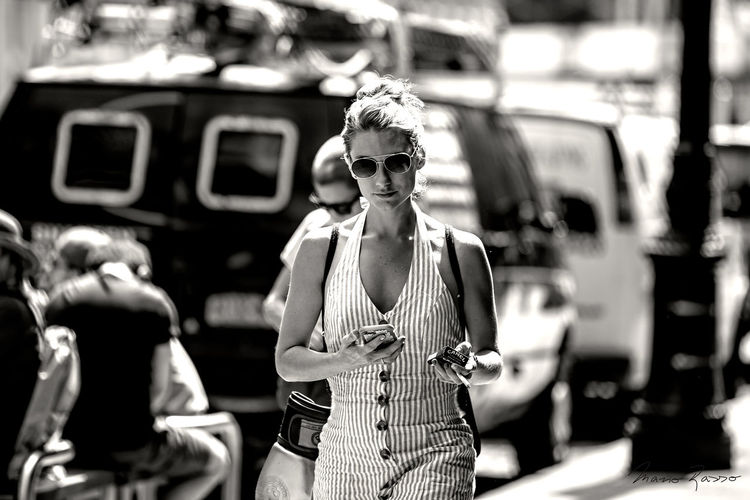 """""""Blond woman in a striped dress"""" Soho SoHo #nyc NYC Street Photography NYC Street NYC Love Yourself Street Style EyeEm Best Shots EyeEmNewHere Casual Clothing Day Fashion Focus On Foreground Front View Lifestyles One Person Outdoors People Real People Sunglasses Three Quarter Length Young Adult Youth Culture Stories From The City The Portraitist - 2018 EyeEm Awards The Portraitist - 2018 EyeEm Awards The Modern Professional The Art Of Street Photography My Best Photo"""