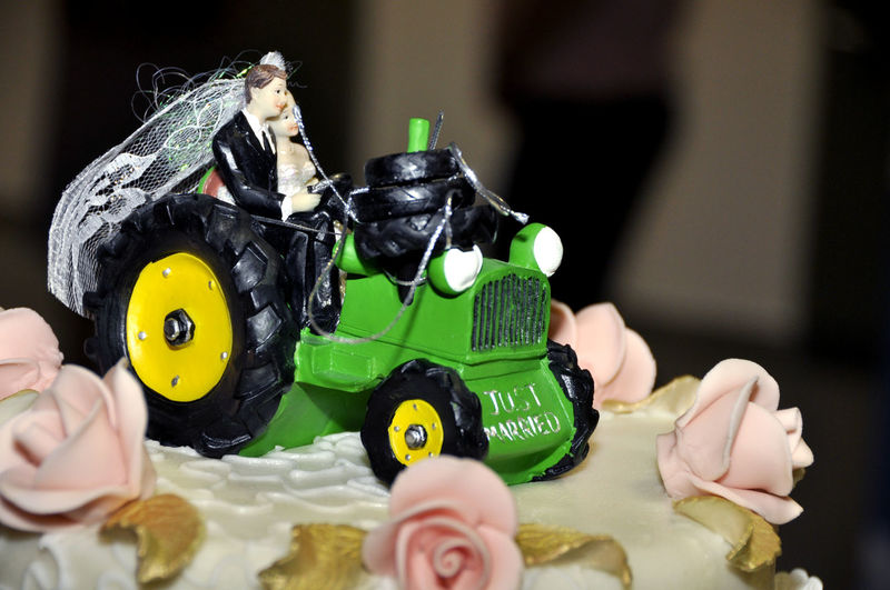 EyeEmNewHere Just Married Sweet Pie Tractor Biscuit Cake Figures Marzipan Cake Marzipan Tractor Sweet Food Sweetness Toy Tractor Love