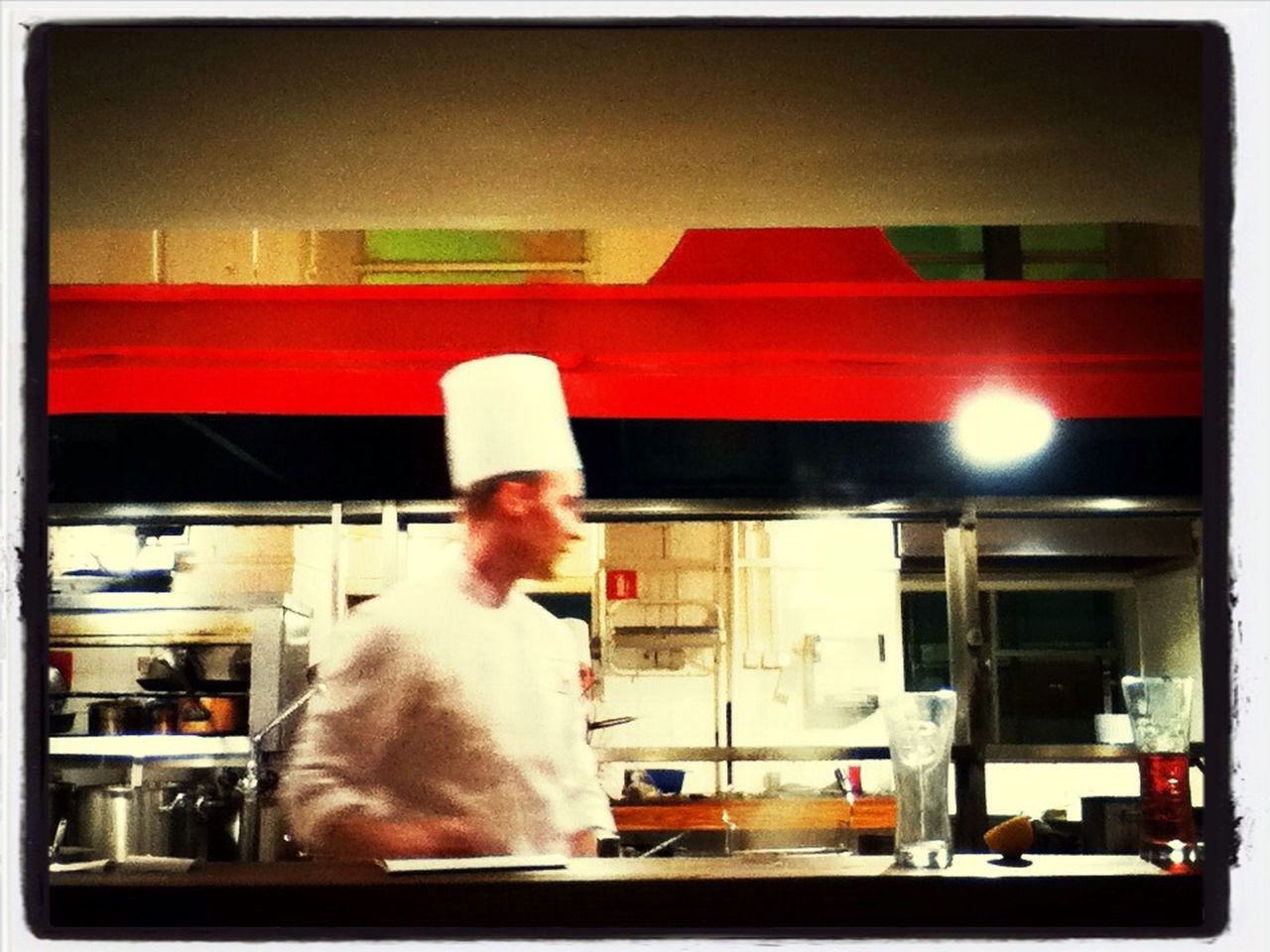 blurred motion, real people, men, one person, indoors, food, commercial kitchen, standing, night, working, one man only, people