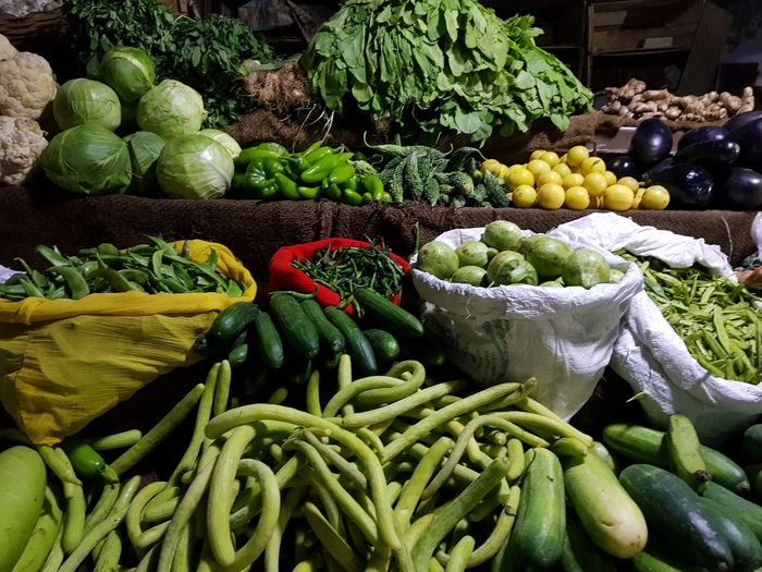 Vegetables for sale at market stall