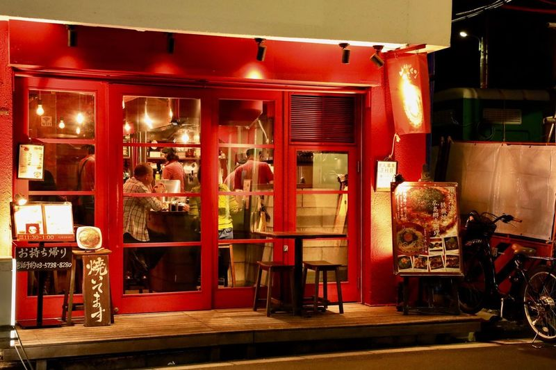 Illuminated red store