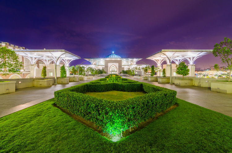 Night scenery at Putrajaya Mosque Malaysia Truly Asia Arch Architecture Building Exterior Built Structure City Grass Green Color Illuminated Malaysia Nature Night No People Outdoors Putrajaya Sky Symmetry Topiary Water