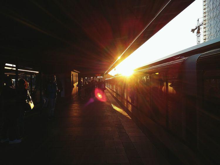 Barmbek Sunset. · Hamburg Germany 040 Subway Station Train Station Train People Platform Transportation Public Transportation Sun Against The Sun Lighting Light And Shadow Glitch Two Colors
