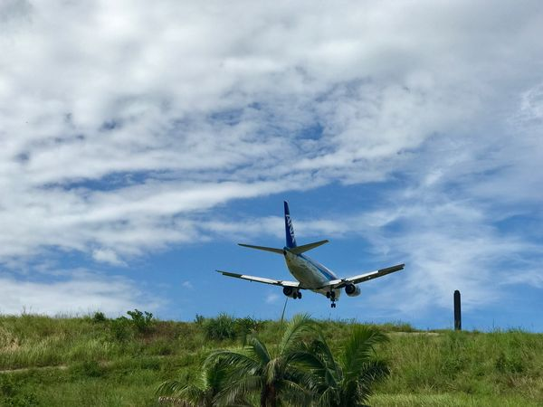 Sky Airplane Cloud - Sky Flying Transportation Journey Air Vehicle Travel Day No People Mode Of Transport Field Blue Nature Grass Landscape Outdoors Low Angle View Beauty In Nature Tree EyEmselect