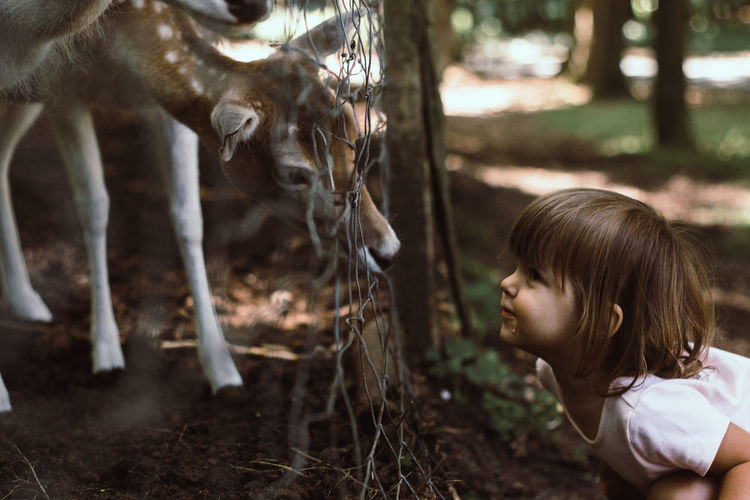 Side view of girl with deer